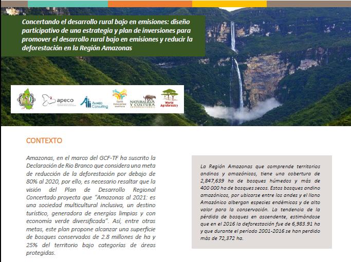 """«Concertando el desarrollo rural bajo en emisiones: diseño participativo de una estrategia y plan de inversiones para promover el desarrollo rural bajo en emisiones y reducir la deforestación en la Región Amazonas"""""""
